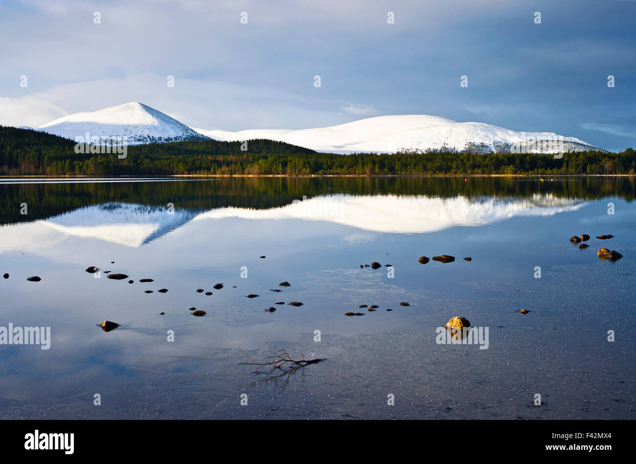 Snowy Carn Eilrig reflected in the calm waters of Loch Morlich, winter, Cairngorms  Scottish Highlands, Scotland - Stock Image