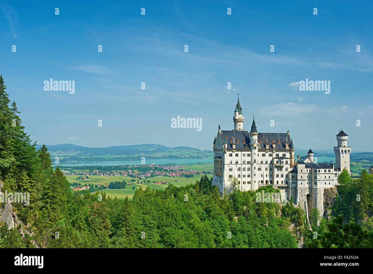 The castle of Neuschwanstein in Germany - Stock Image