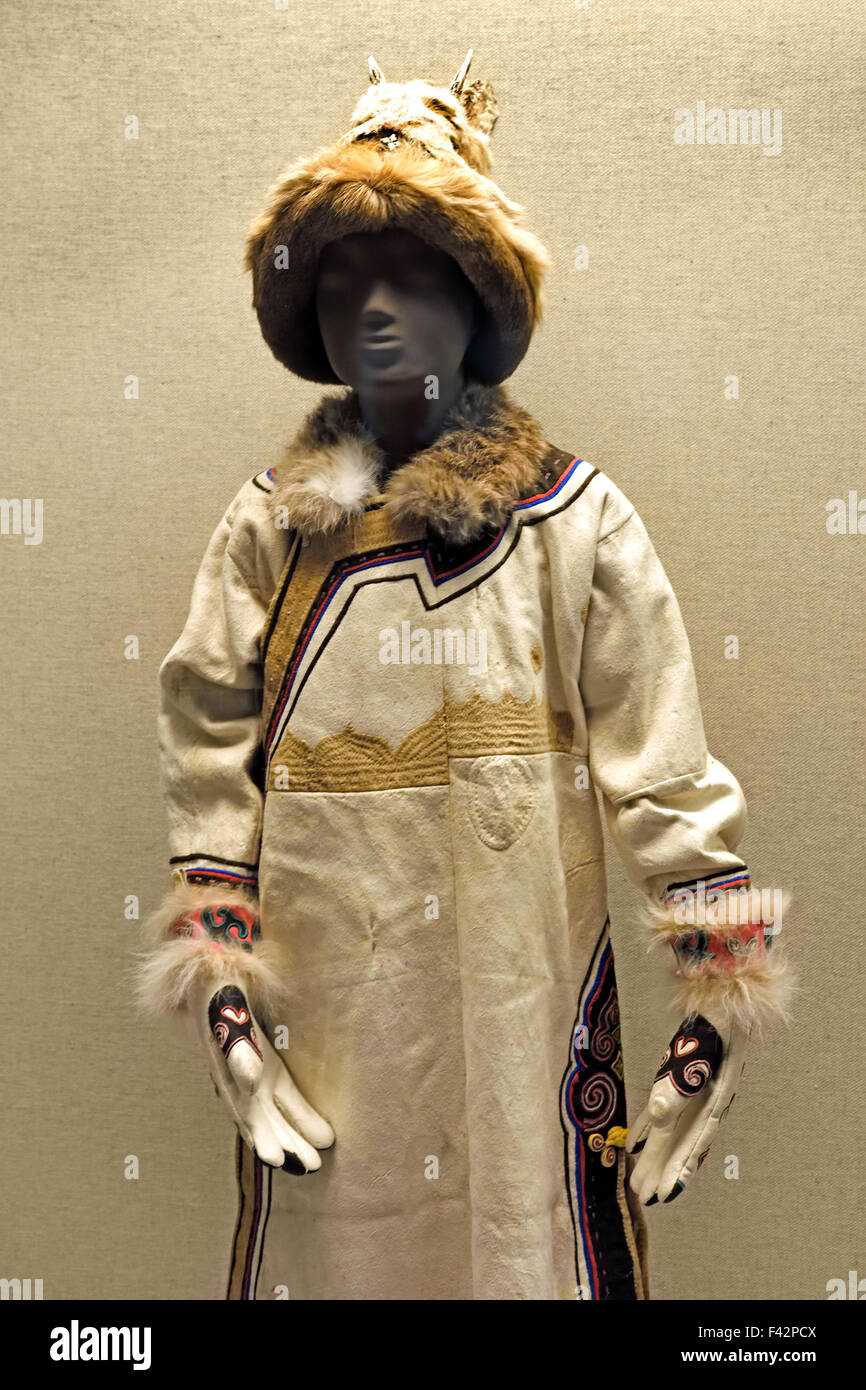 Girl's pieced skin robe with fur trimmed hem Oroqen nationality Heilongjiang Provence Late 20th century Shanghai - Stock Image
