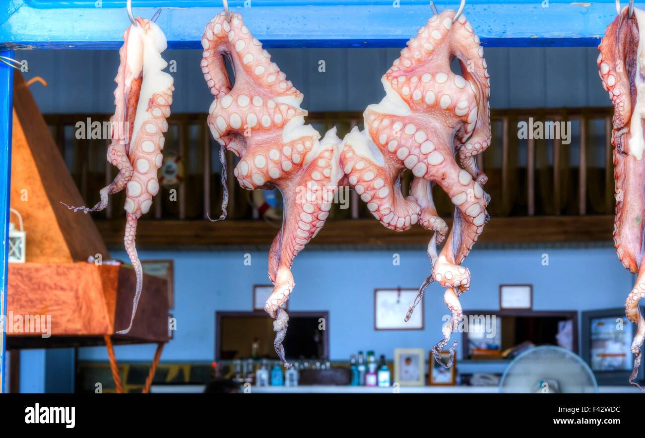 Oregano-rubbed octopus tentacles drying in the sun outside of a seaside taverna in Greece. A greek delicacy. Stock Photo