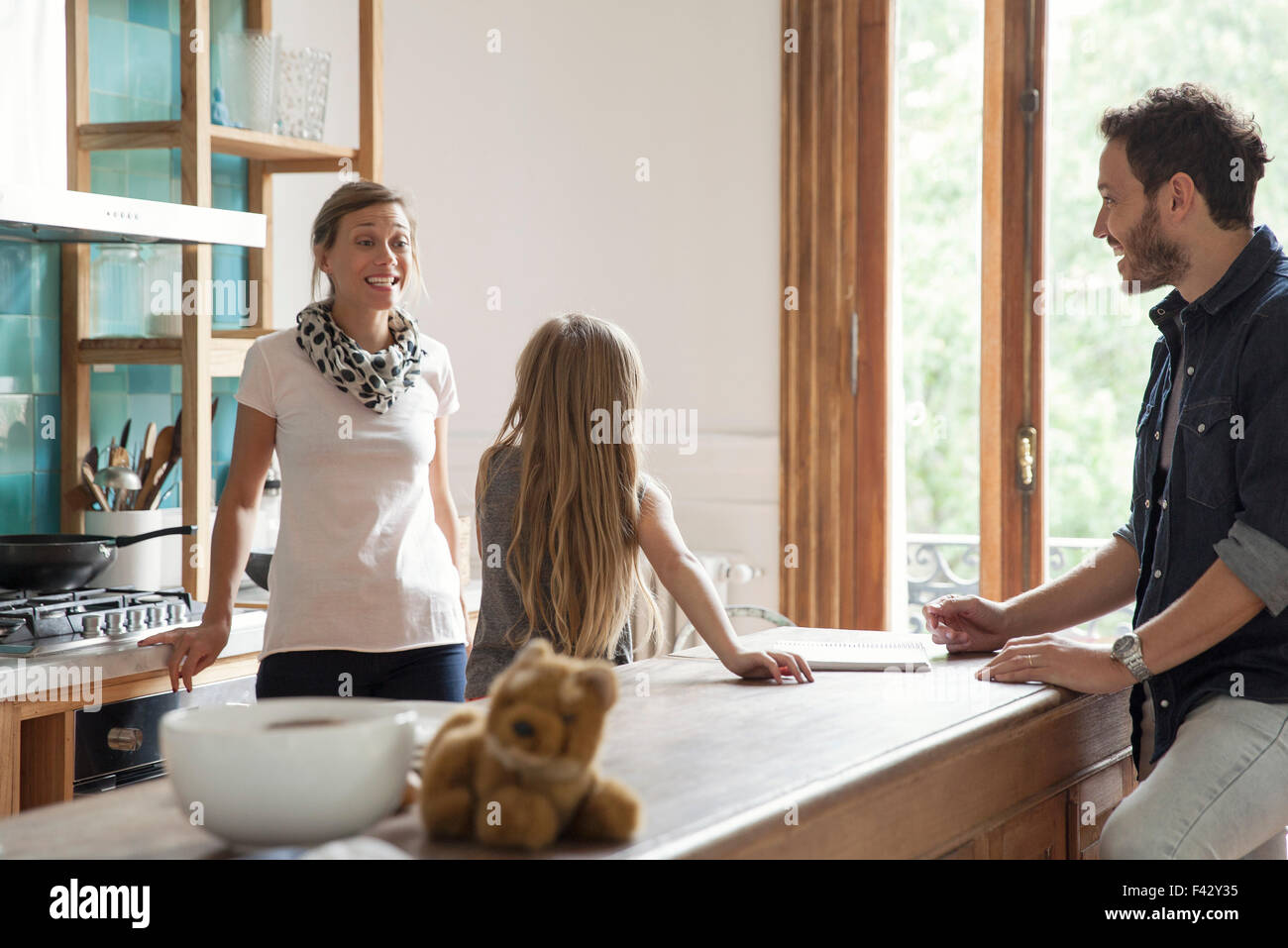 Family spending time together at home - Stock Image