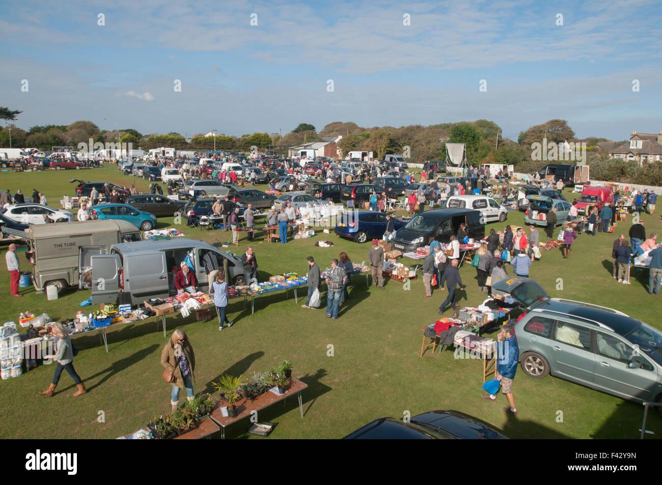 Rosudgeon car boot fair - Stock Image