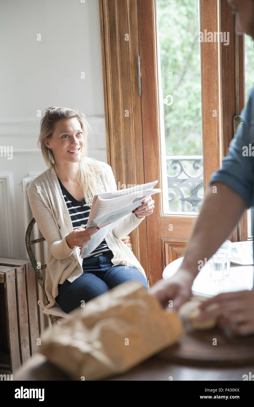 Couple hanging out at home - Stock Image