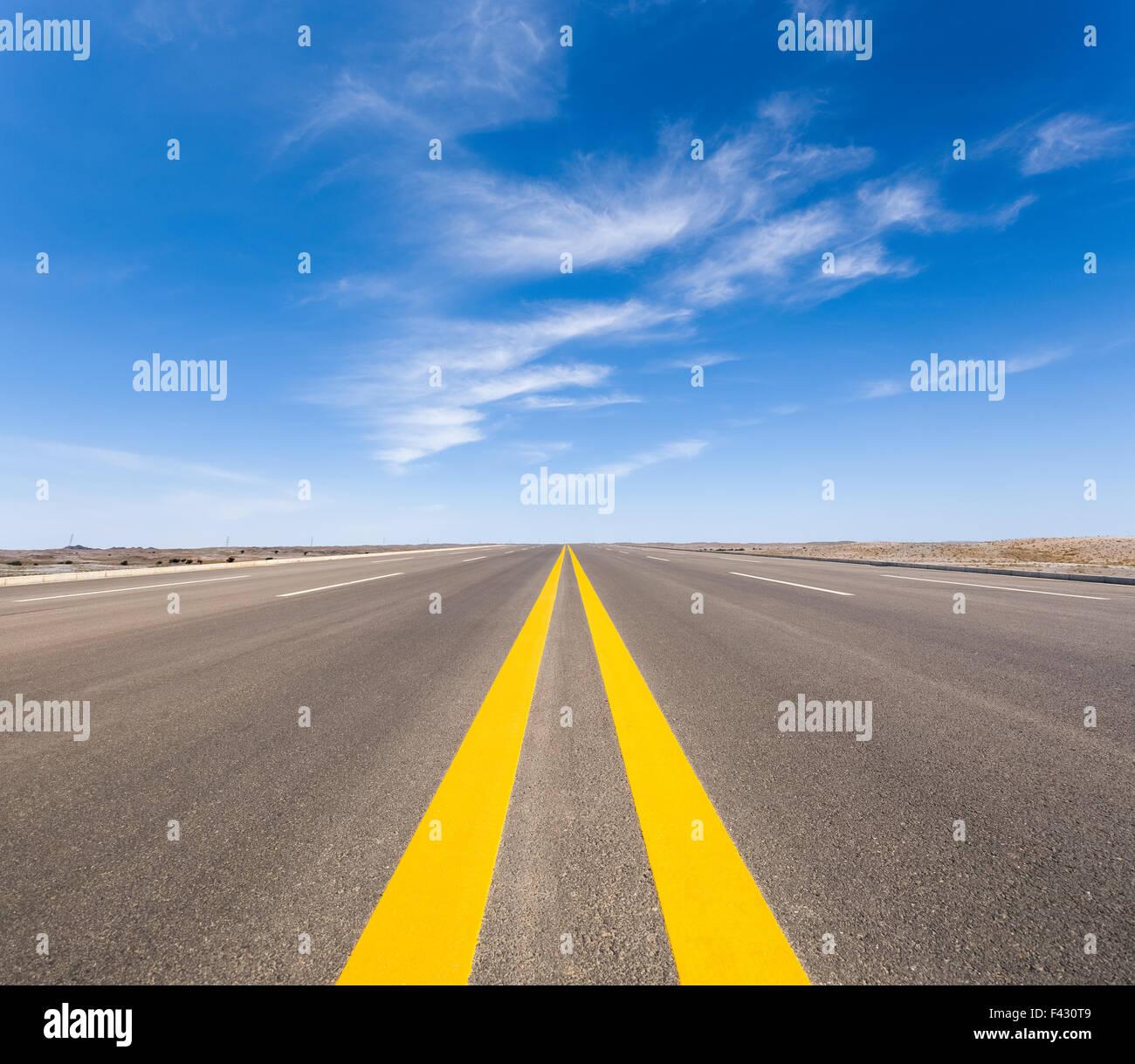 road in the gobi - Stock Image
