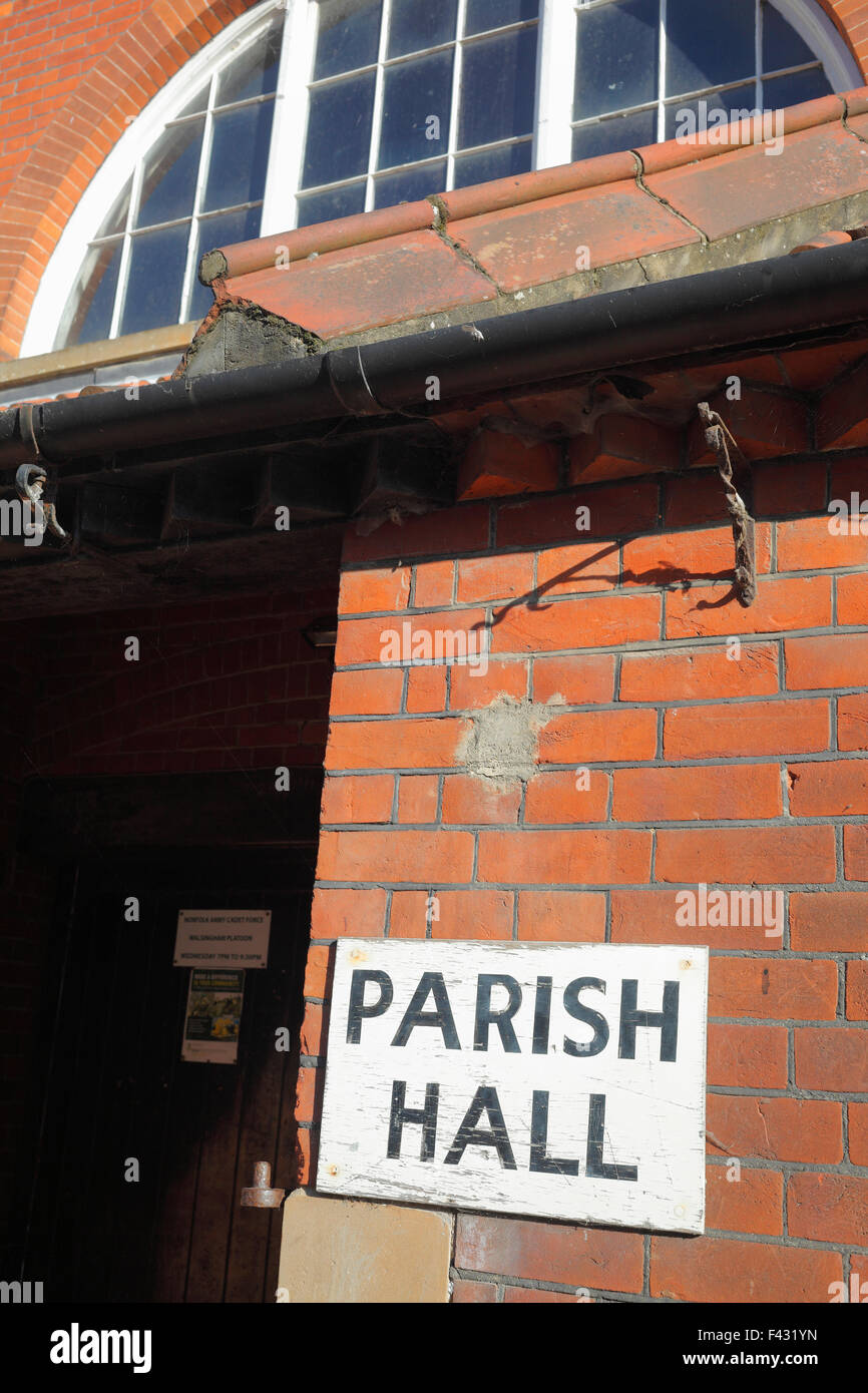 Parish Hall sign at Little Walsingham in Norfolk, UK. - Stock Image