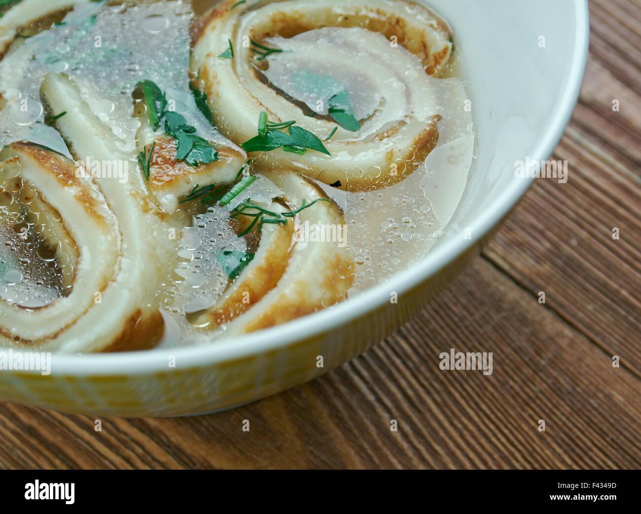 Pfannkuchensuppe - Stock Image
