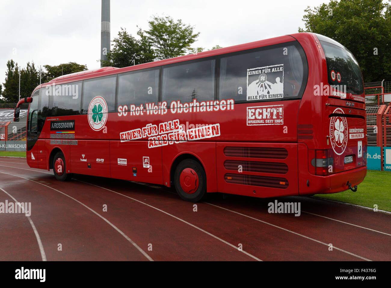 sports, football, Regional League West, 2015/2016, team bus of Rot Weiss Oberhausen in the Stadium Niederrhein Oberhausen - Stock Image