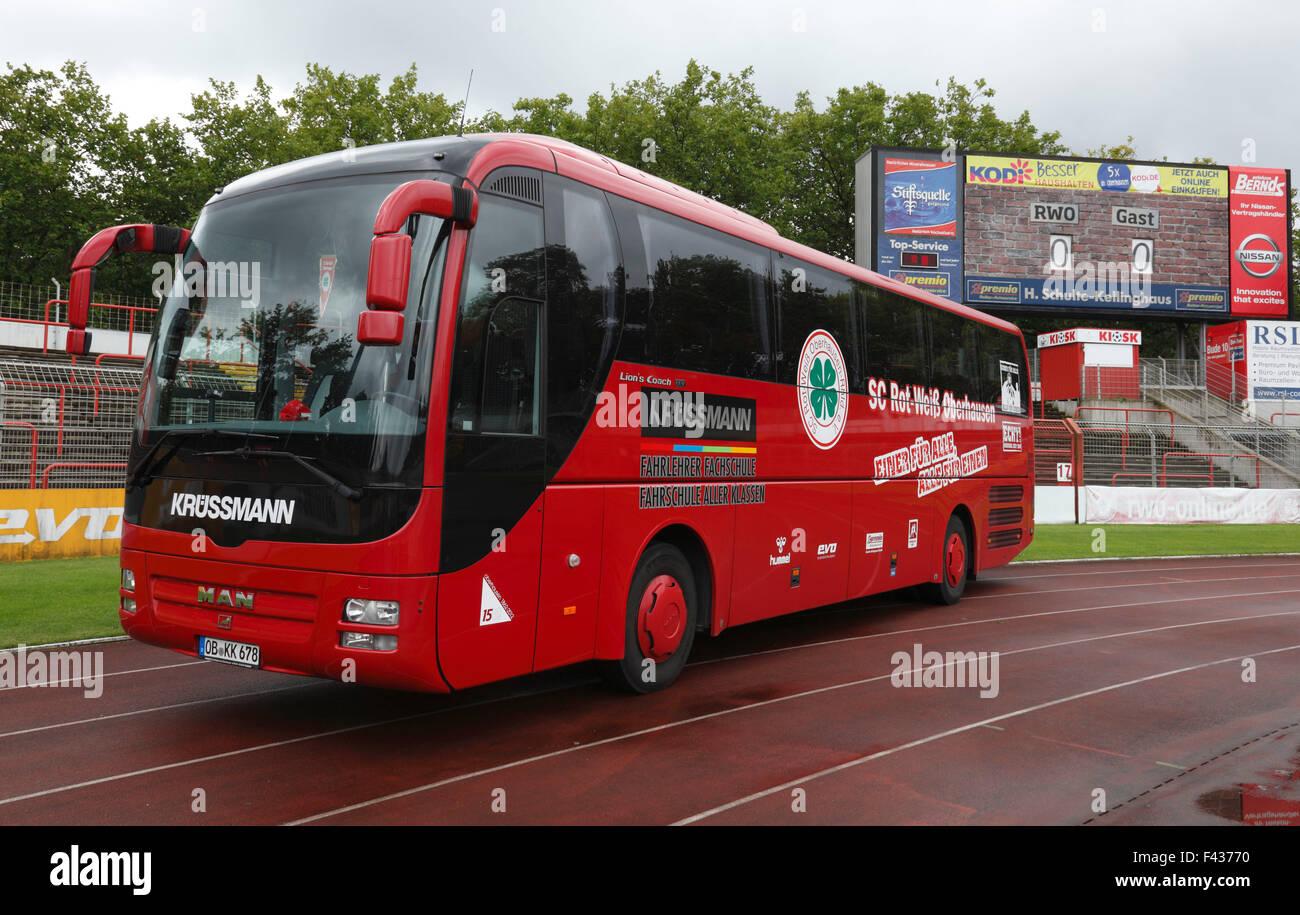 sports, football, Regional League West, 2015/2016, team bus of Rot Weiss Oberhausen in the Stadium Niederrhein Oberhausen, - Stock Image