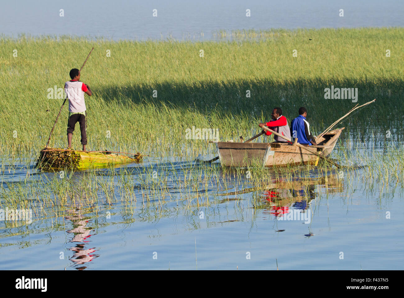 Africa, Ethiopia, Children fish in the river - Stock Image