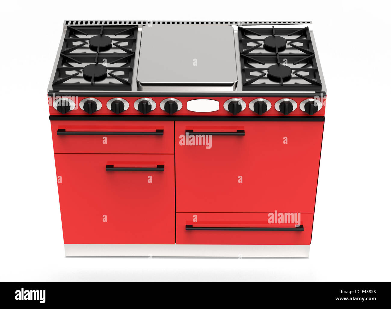 Modern kitchen appliance digital drawing of a red gas stove with hotplates and four ovens viewed high angle with - Stock Image