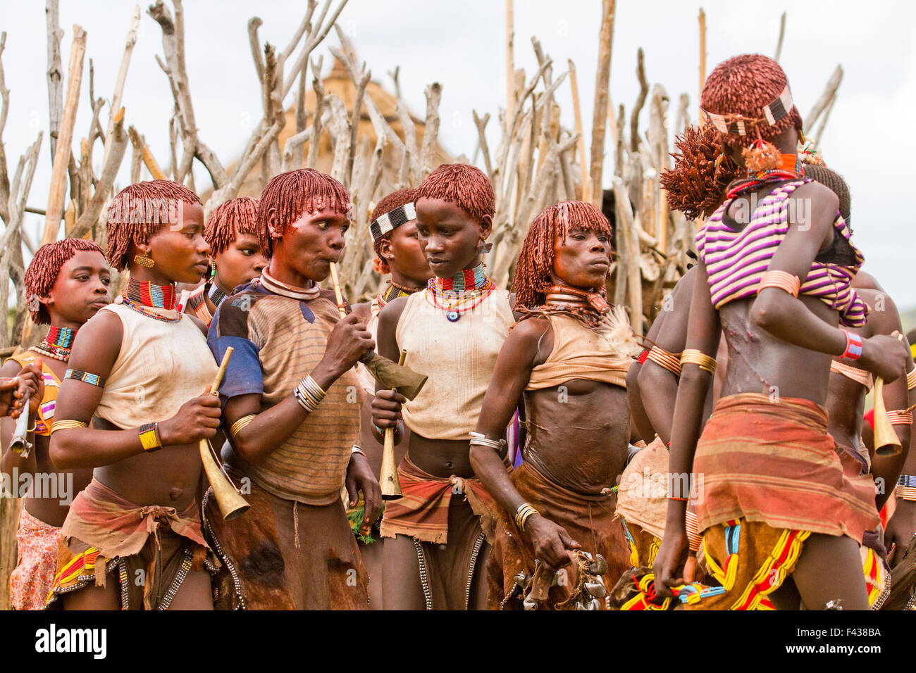 The raw scars on a Hamar woman's back after being whipped at a 'Jumping of the Bull' ceremony. Omo Valley - Stock Image