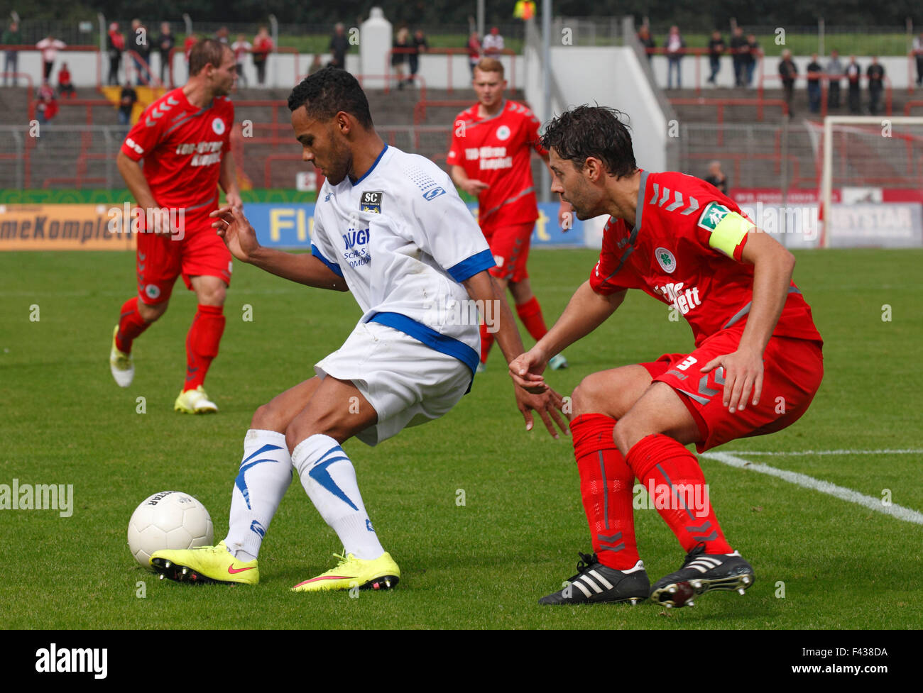 sports, football, Regional League West, 2015/2016, Rot Weiss Oberhausen versus SC Wiedenbrueck 2000 1:0, Stadium - Stock Image