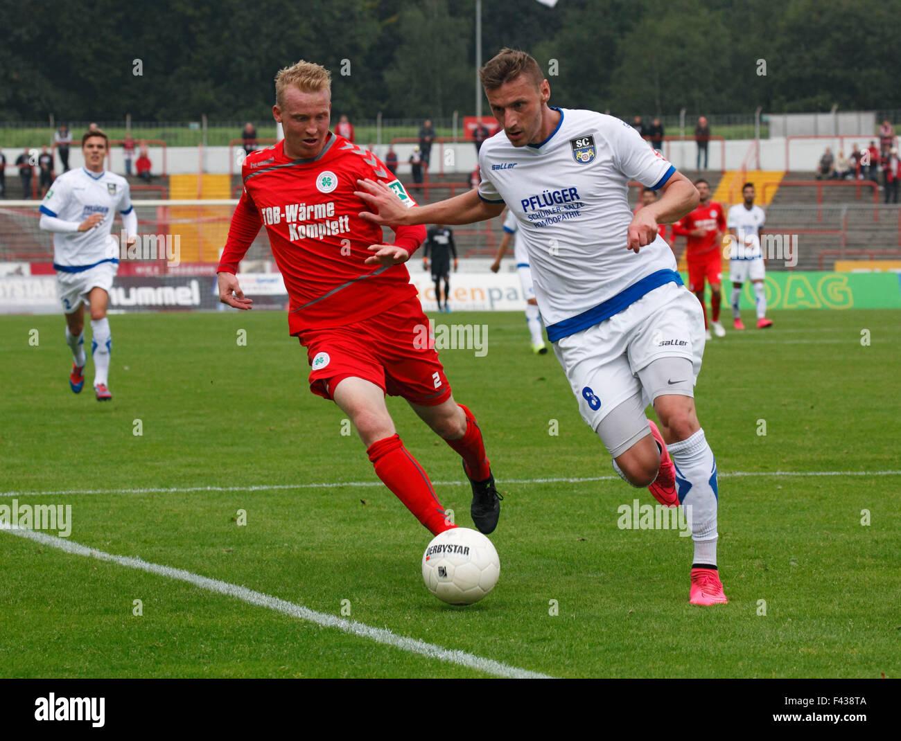 sports, football, Regional League West, 2015/2016, Rot Weiss Oberhausen versus SC Wiedenbrueck 2000 1:0, Stadium - Stock Image