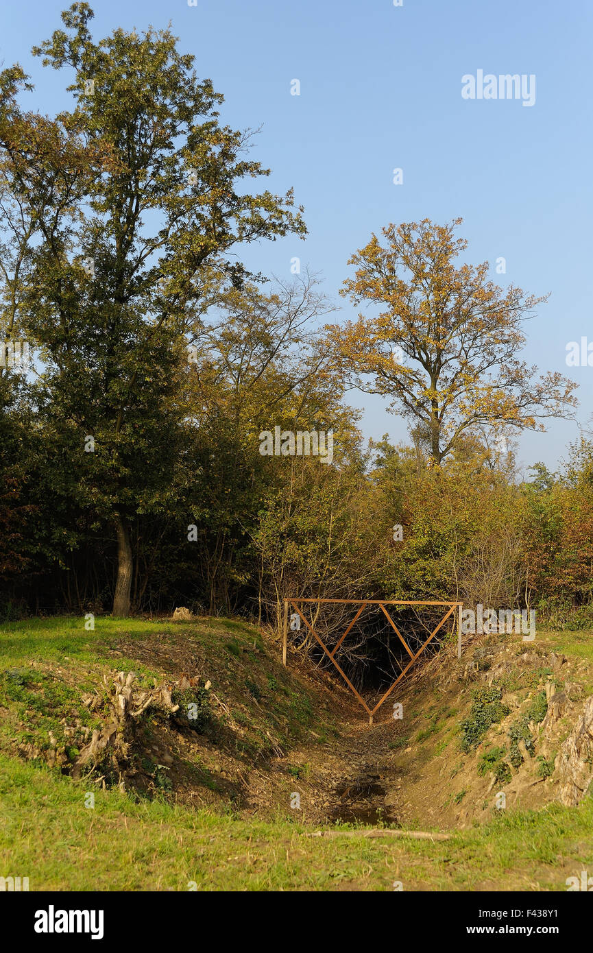 Historical WW2 tank ditch - Stock Image