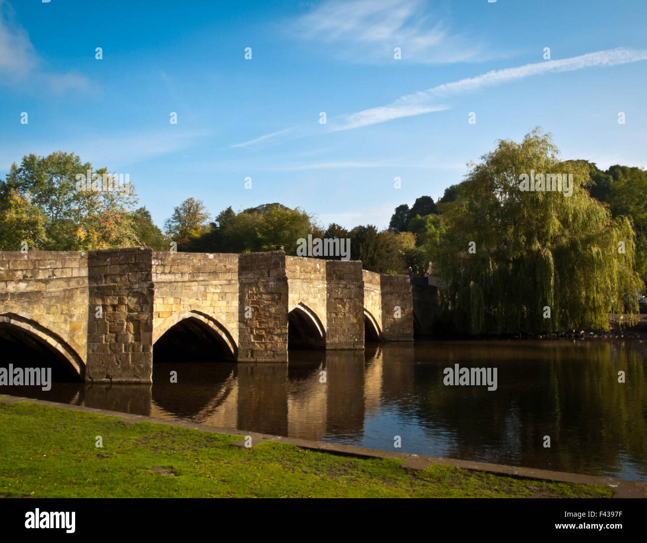Bakewell Bridge over the river Wye taken on OLYMPUS DIGITAL CAMERA - Stock Image