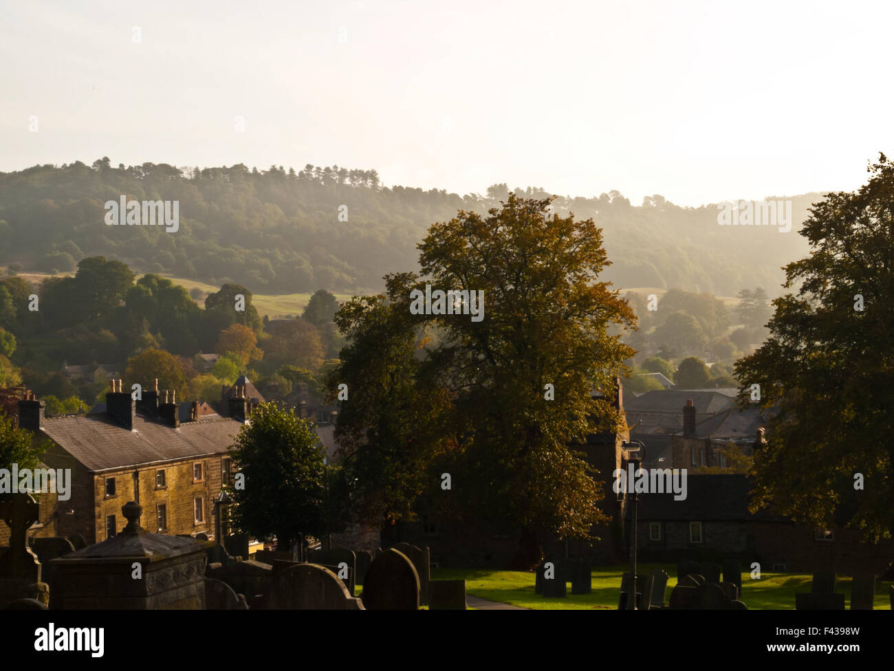 A view from All Saints Church, Bakewell, Derbyshire, Peak District, UK taken on OLYMPUS DIGITAL CAMERA - Stock Image
