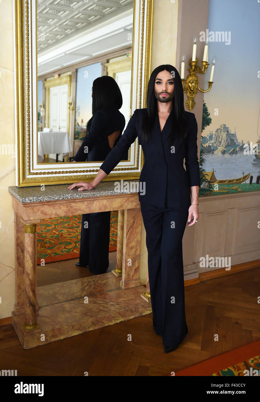 Exclusive: Austrian singer Conchita Wurst poses during a photo shooting during the Frankfurt Book Fair 2015. Conchita - Stock Image