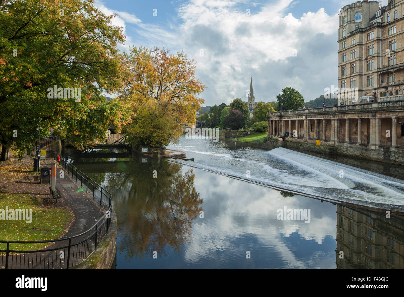 The Weir on river Avon in Bath, Somerset, England. - Stock Image