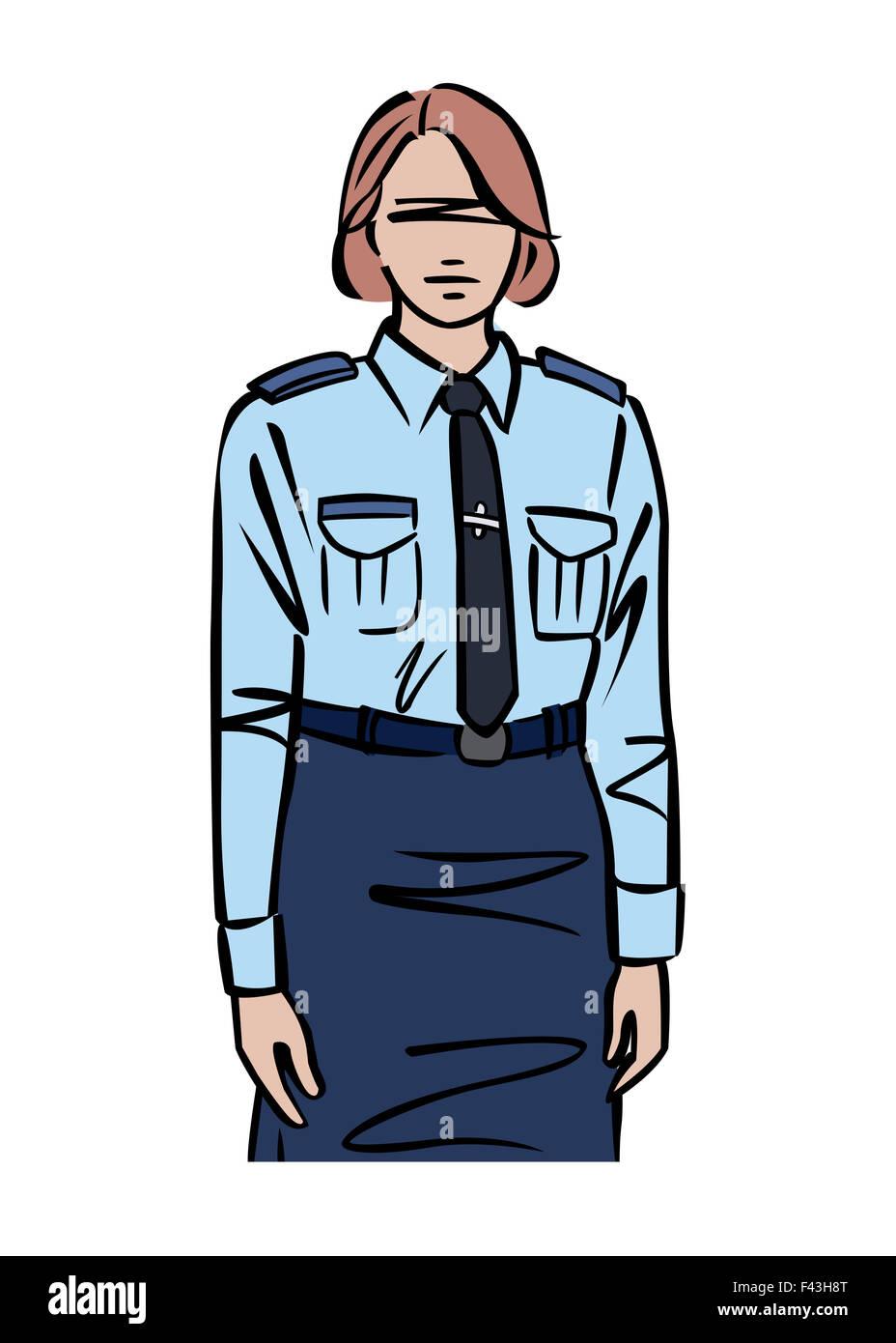 Illustration of female police officer - Stock Image