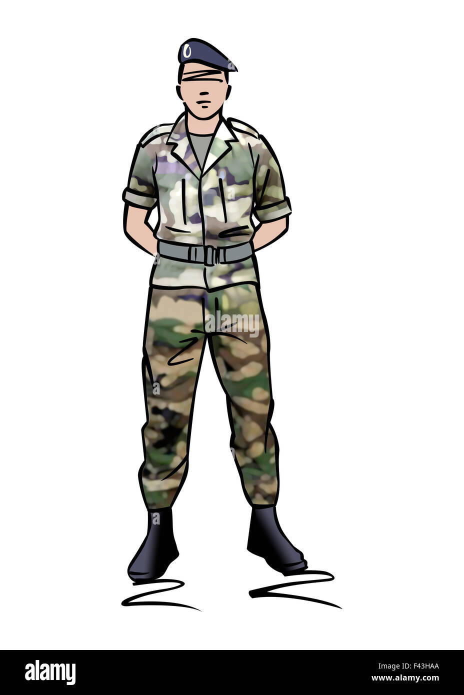 Illustration of a soldier dressed in camouflage Stock Photo