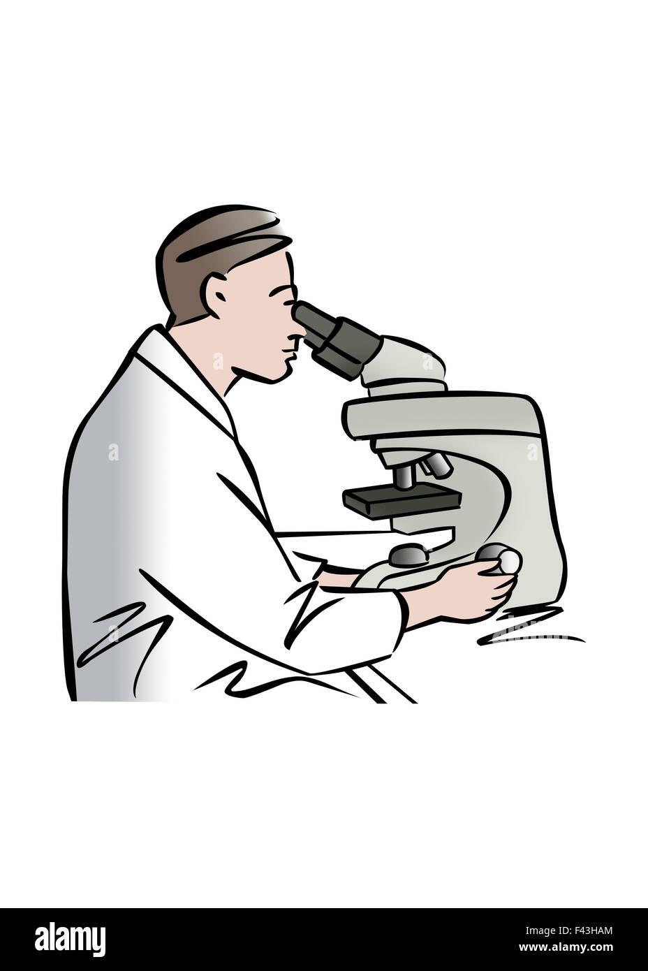 Illustration of male scientist using microscope - Stock Image