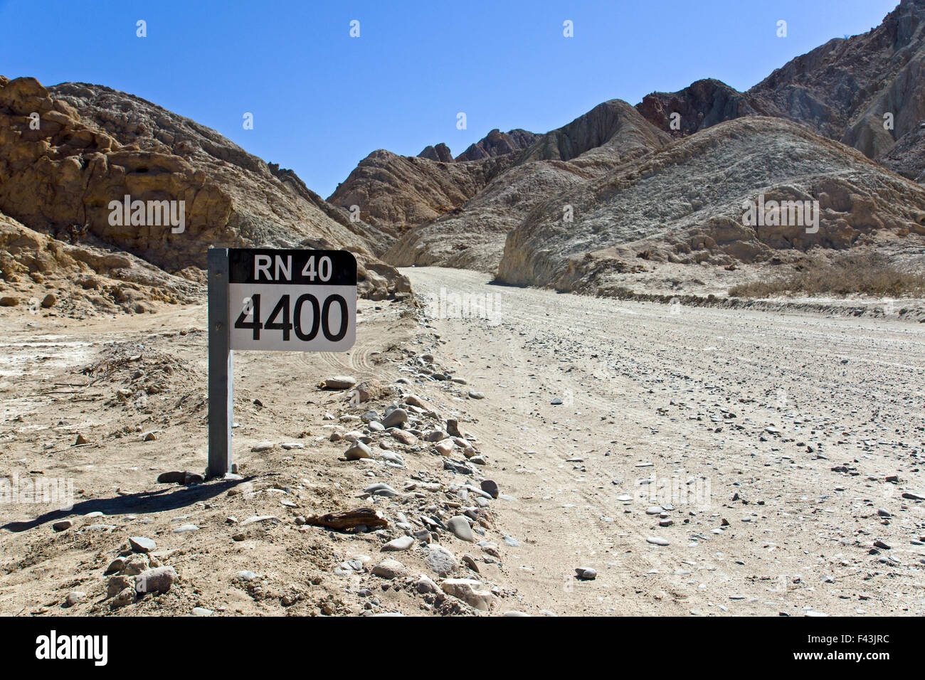 A street sign of the famous Ruta 40 in northern Argentina - Stock Image
