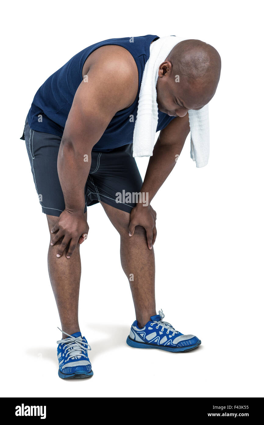 Fit man taking a break from working out - Stock Image