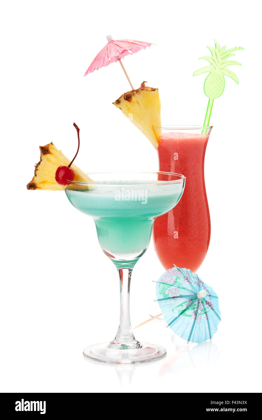 Two tropical cocktails with pineapple. Isolated on white - Stock Image