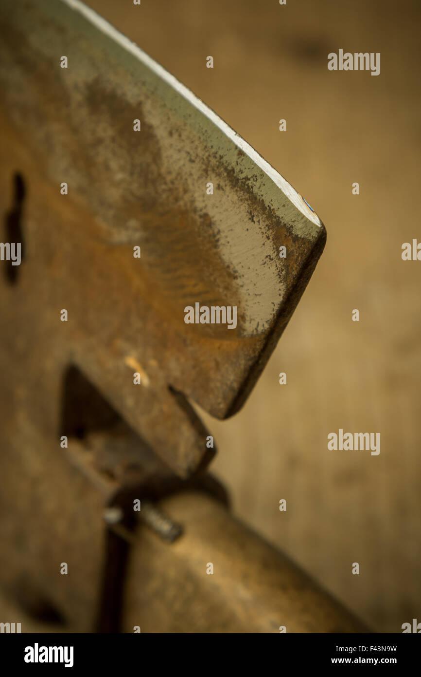 ax blade close up - Stock Image