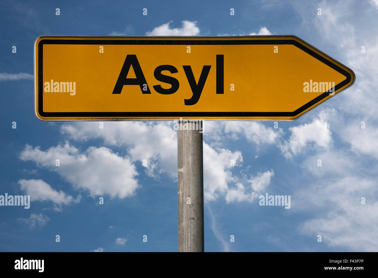 Detail photo of a signpost with the German title Asyl (Asylum) - Stock Image