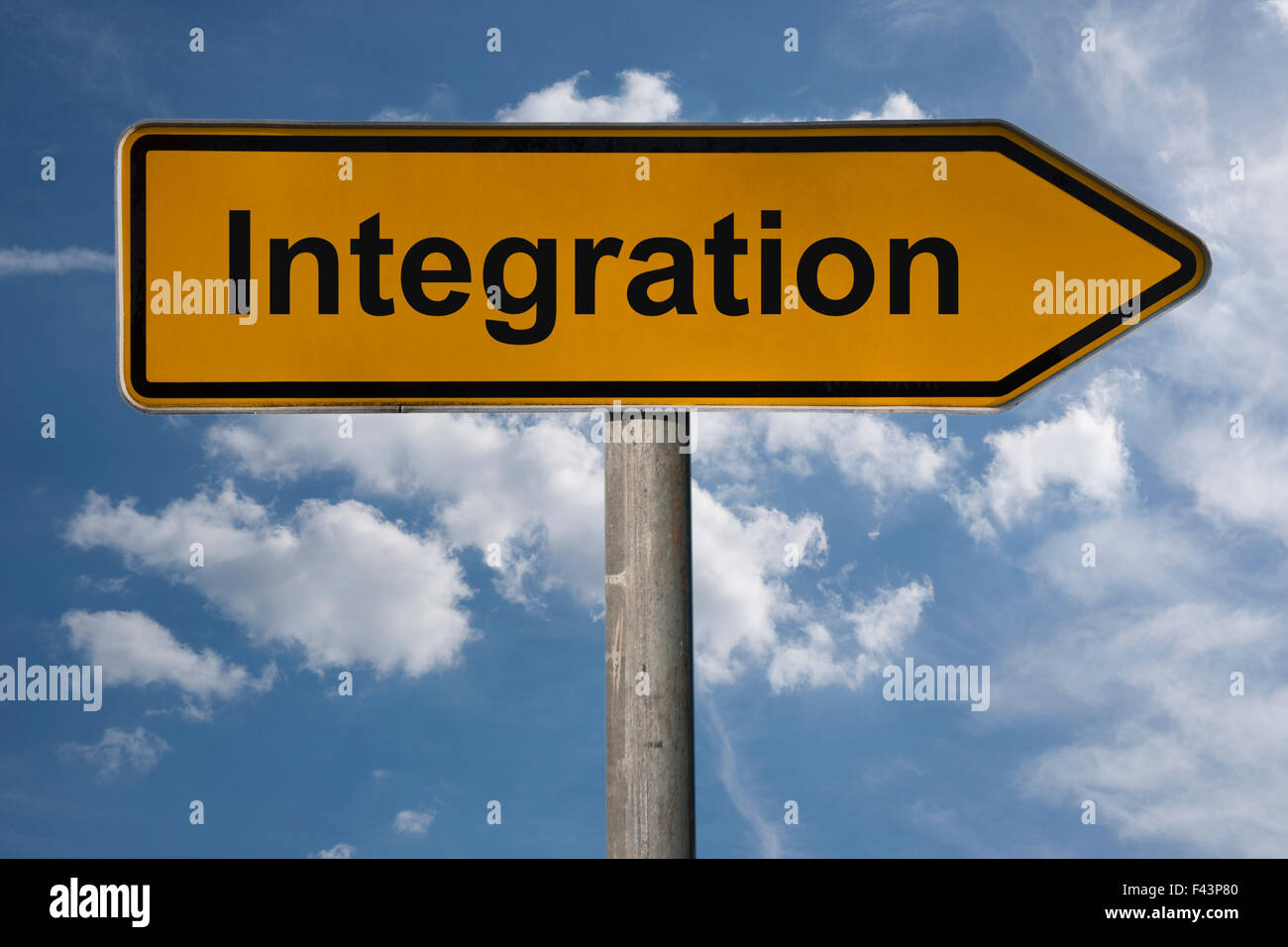 Detail photo of a German signpost with the title Integration - Stock Image