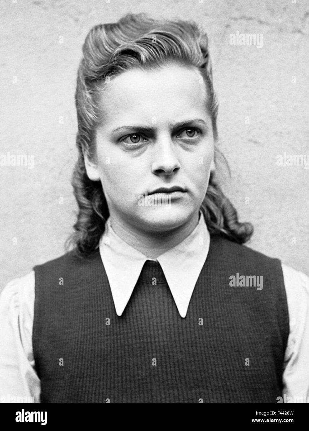 Irma Grese, Irma Ida Ilse Grese, female SS guard at the Nazi concentration camps of Ravensbrück and Auschwitz, - Stock Image