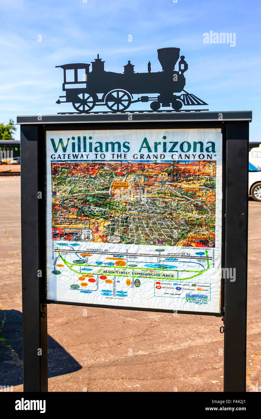 Map Of Arizona I40.Tourist Information Map In Williams Arizona The Last Route 66 City