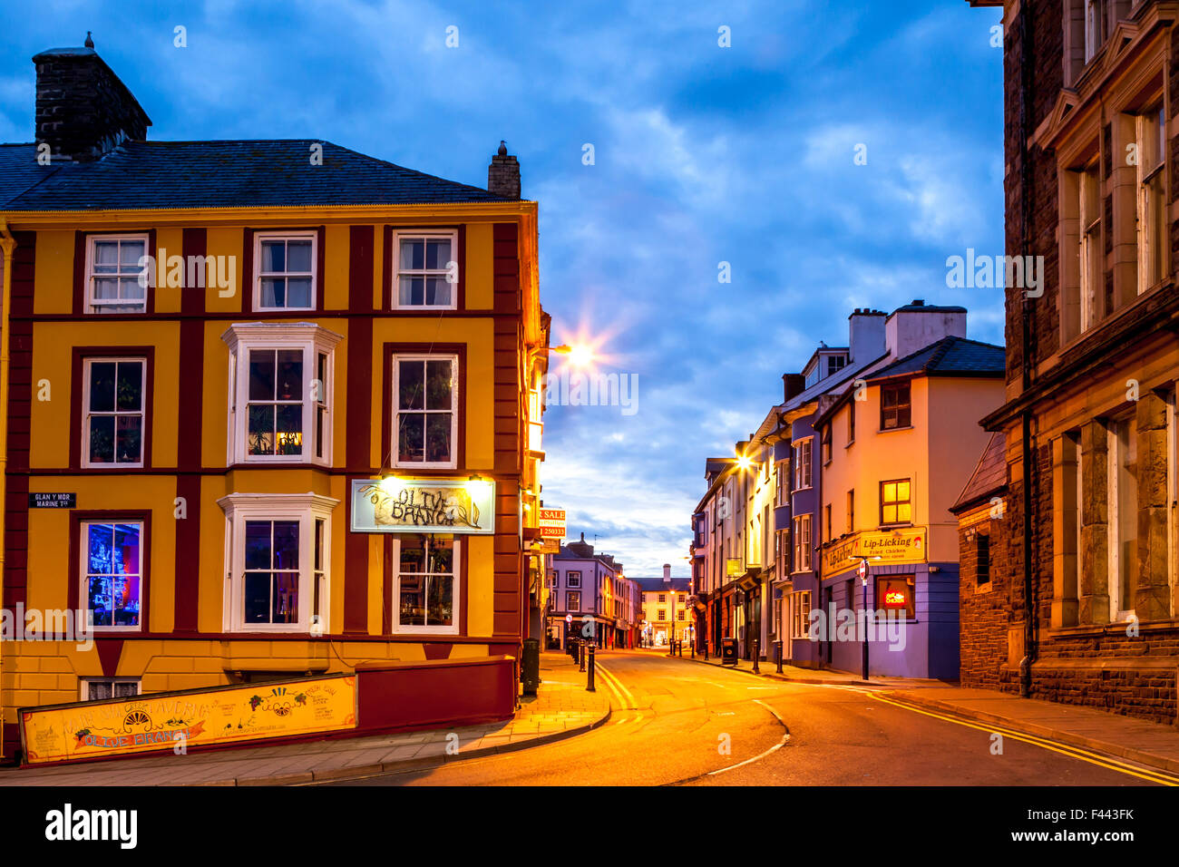 looking up pier street at dawn in Aberystwyth Wales UK - Stock Image