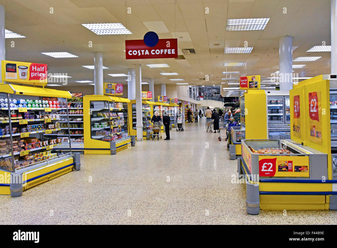 Costa Coffee sign for café facility interior Tesco Extra supermarket store London England UK - Stock Image