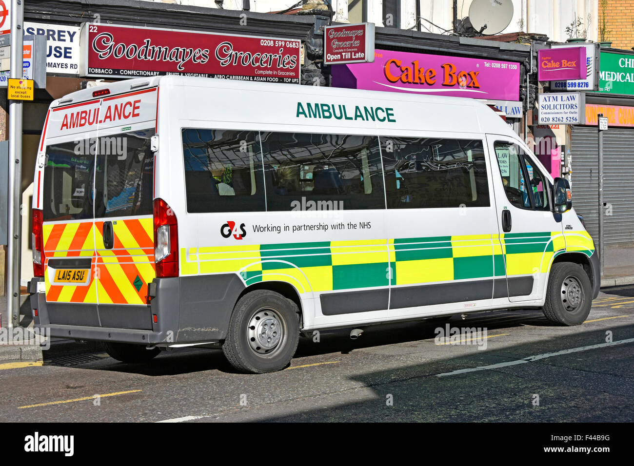 G4S working in partnership with the NHS by providing out patient ambulance transport services to hospitals seen Stock Photo