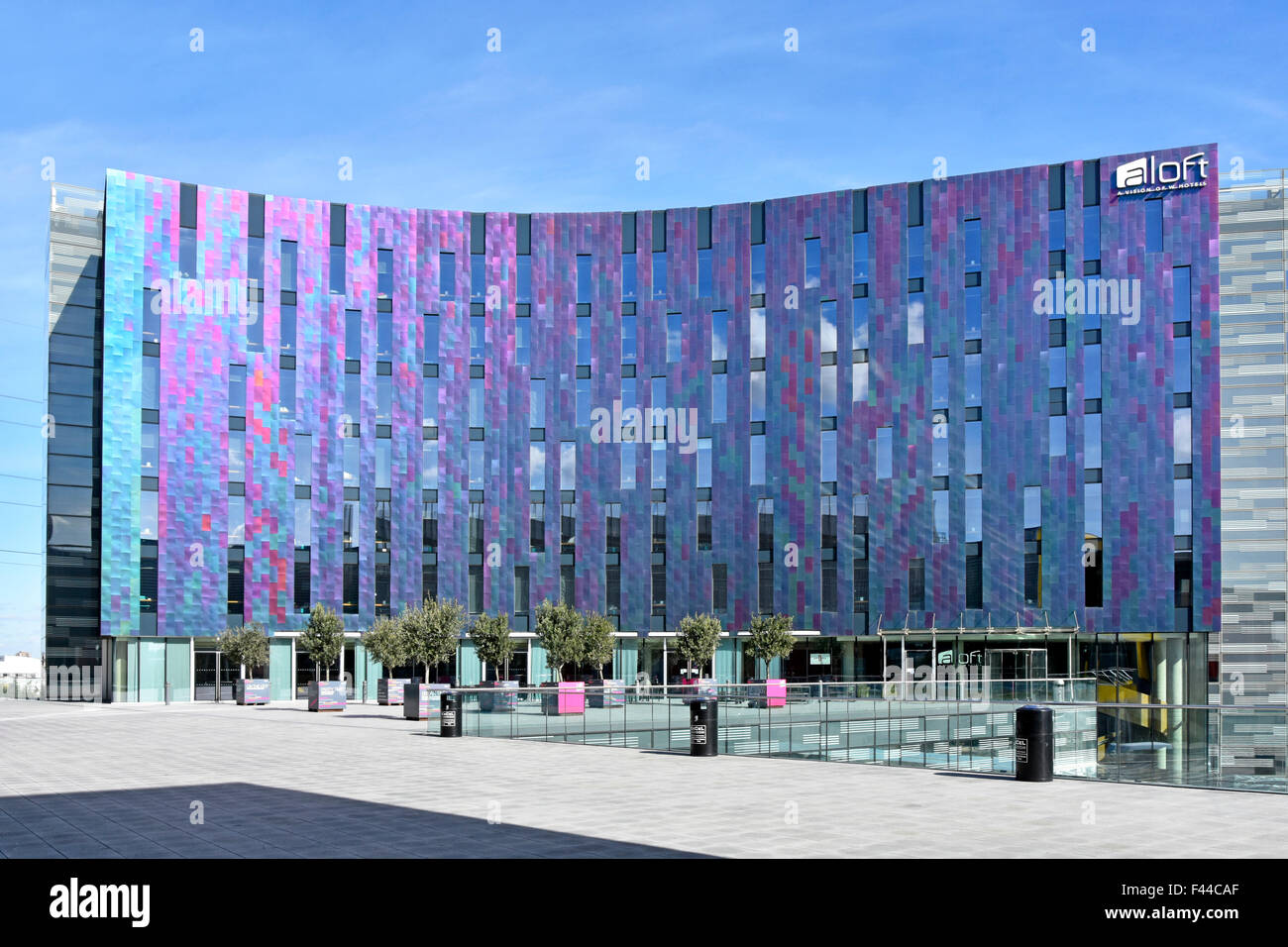 Hotel modern architecture colourful cladding panels on façade of aloft W hotel building adjacent to London - Stock Image
