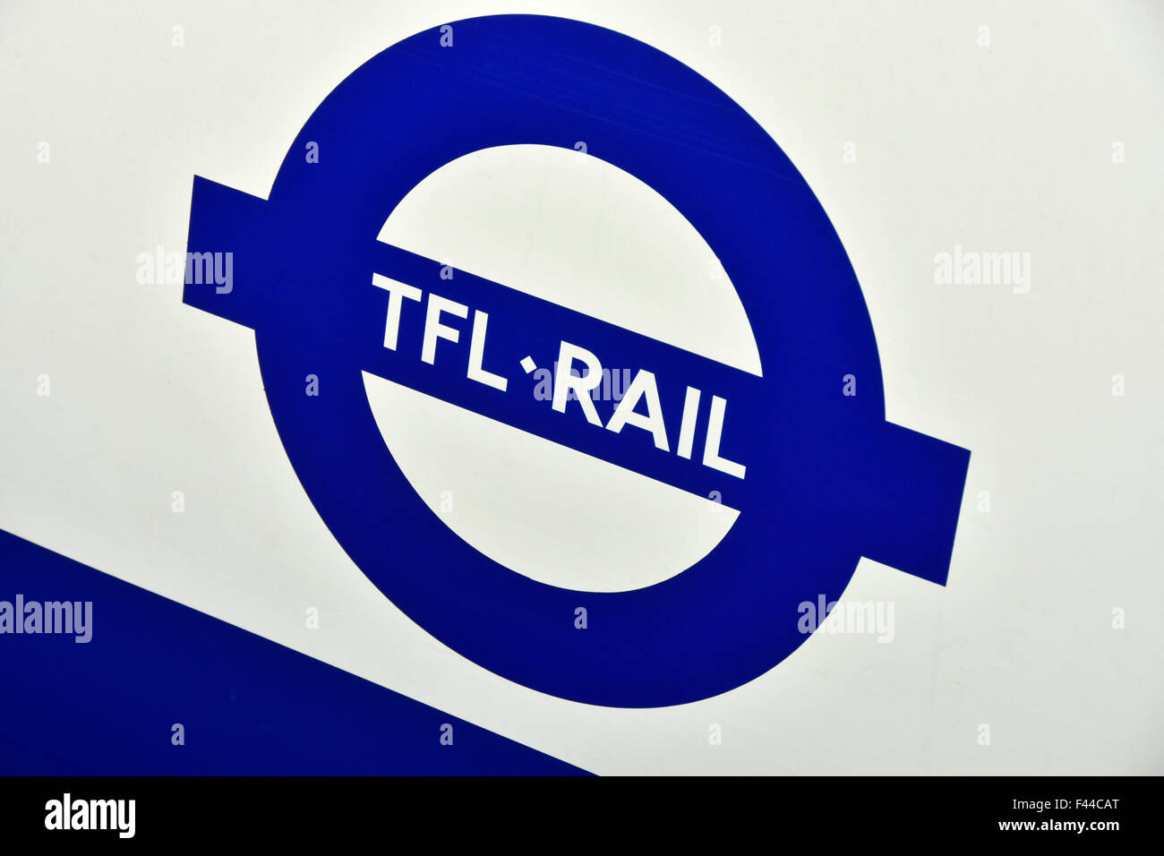 Transport for London sign on metro commuter train carriage taken over by tfl on Shenfield to London Liverpool Street - Stock Image