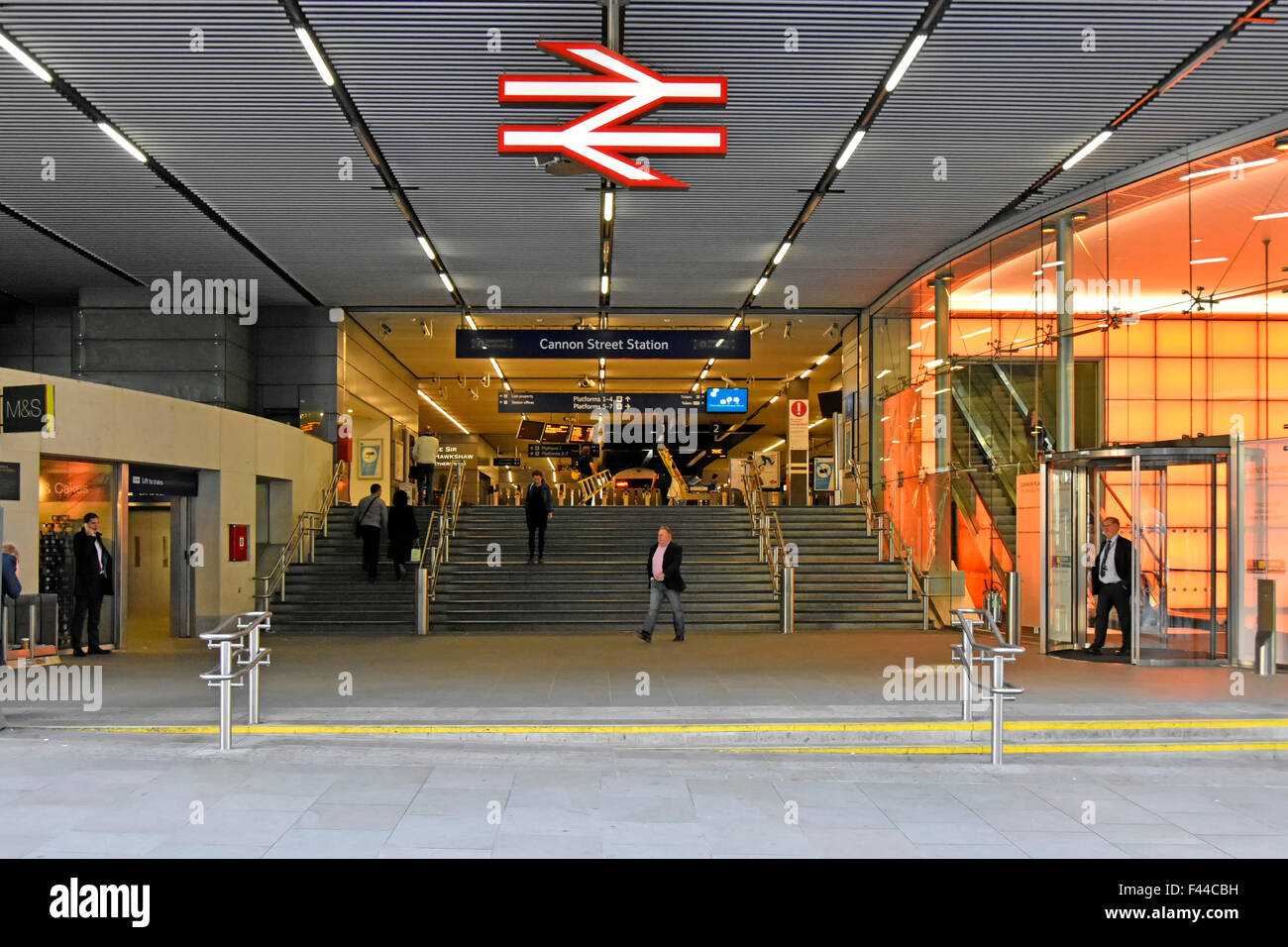 Cannon Street train station entrance with British Railways sign station managed by Network Rail & incorporated - Stock Image
