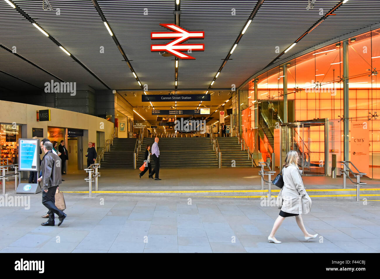 Cannon Street railway station entrance with British Railways sign station managed by Network Rail & part of - Stock Image
