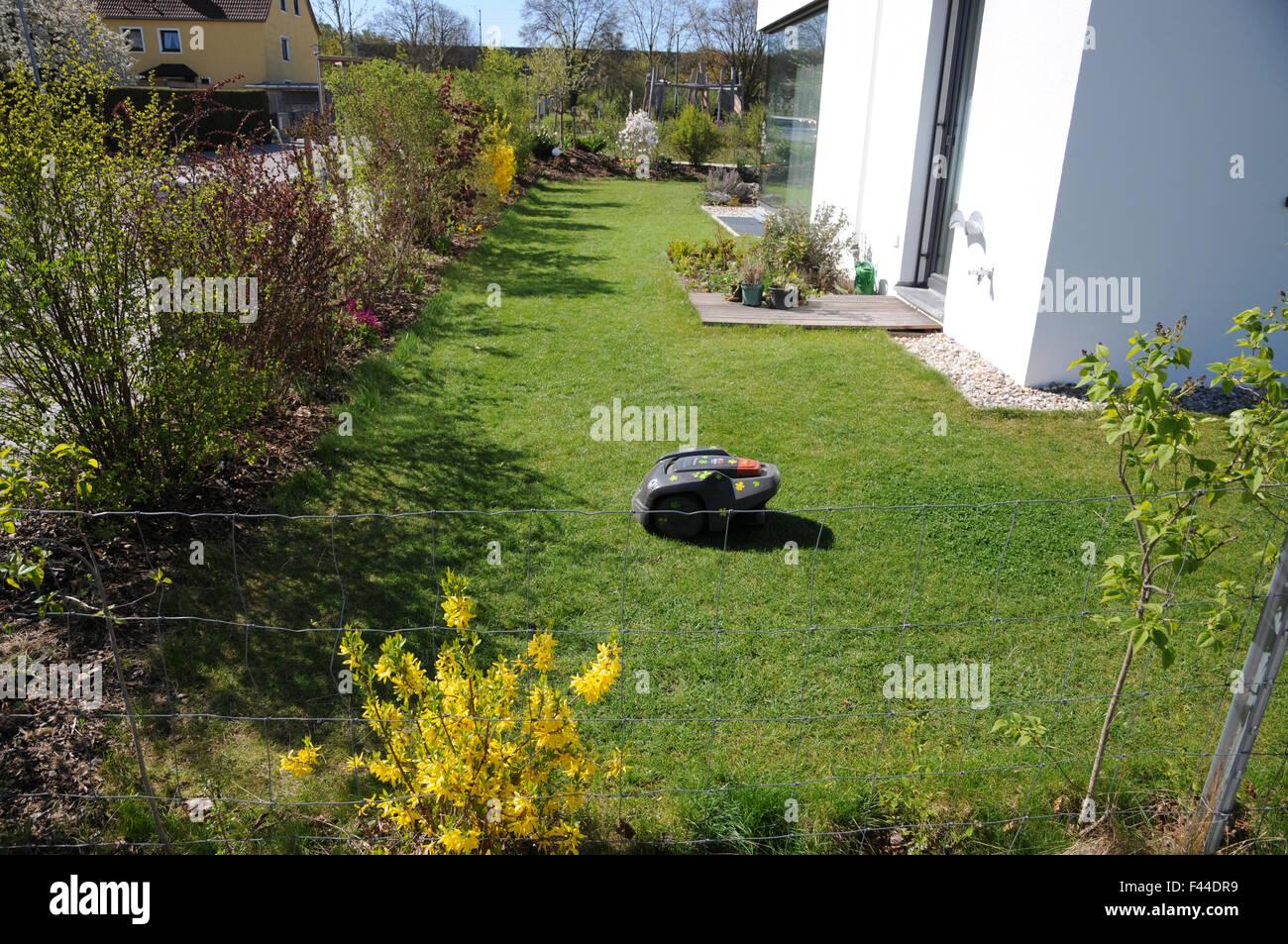Robotic lawn mower - Stock Image