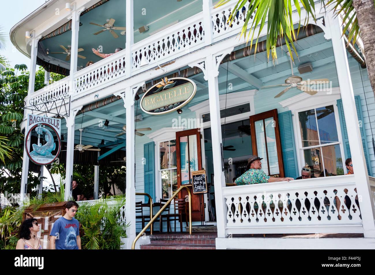 Key West Florida Keys Duval Street Bagatelle restaurant front entrance Stock Photo