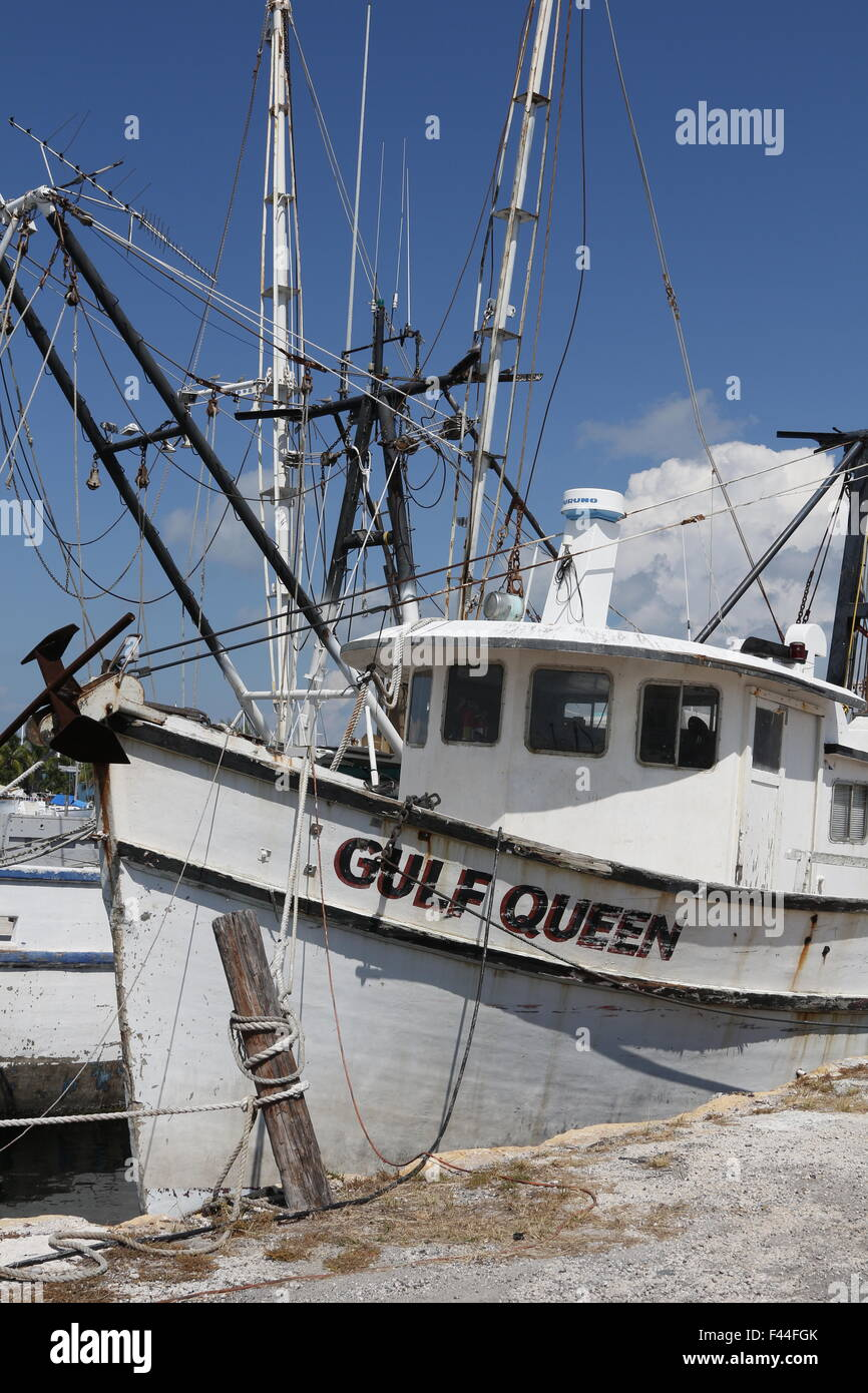Remnants of the once large and famous Key West shrimp boat fleet decimated by shrimp imports from Asia - Stock Image
