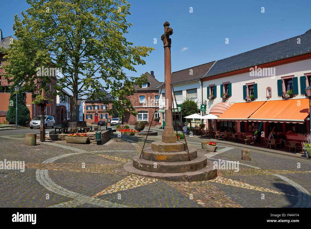 market square of Nideggen, North Rhine-Westphalia, Germany, Europe - Stock Image