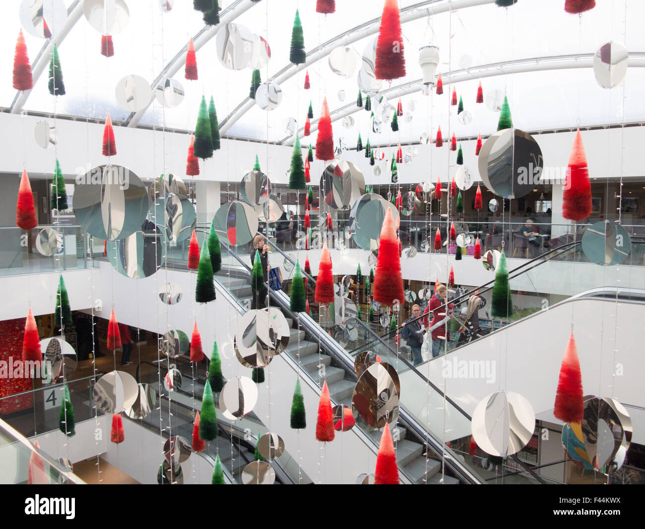 christmas decorations in john lewis department store in central london stock image