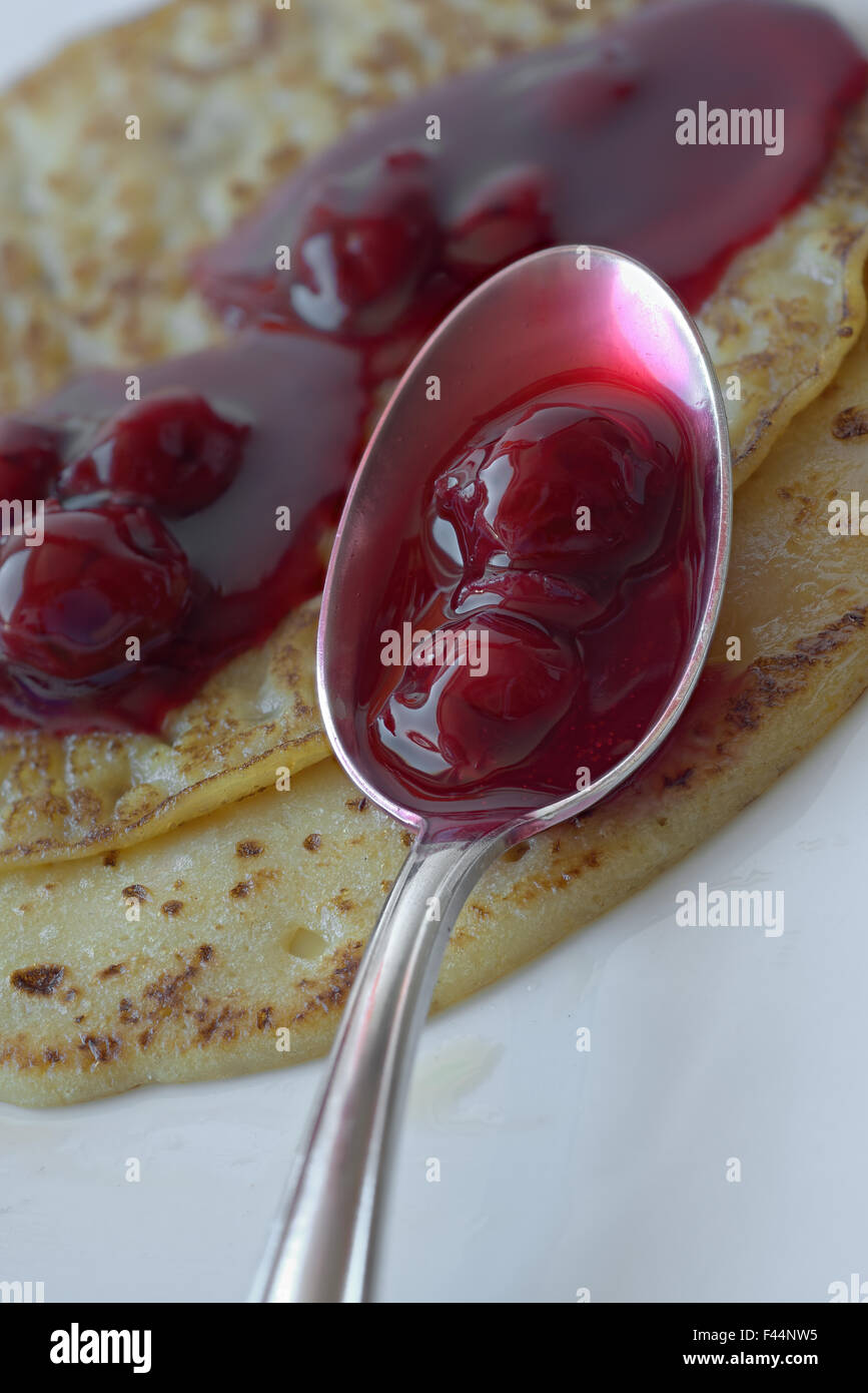 Pancakes and Cherry Grout - Stock Image