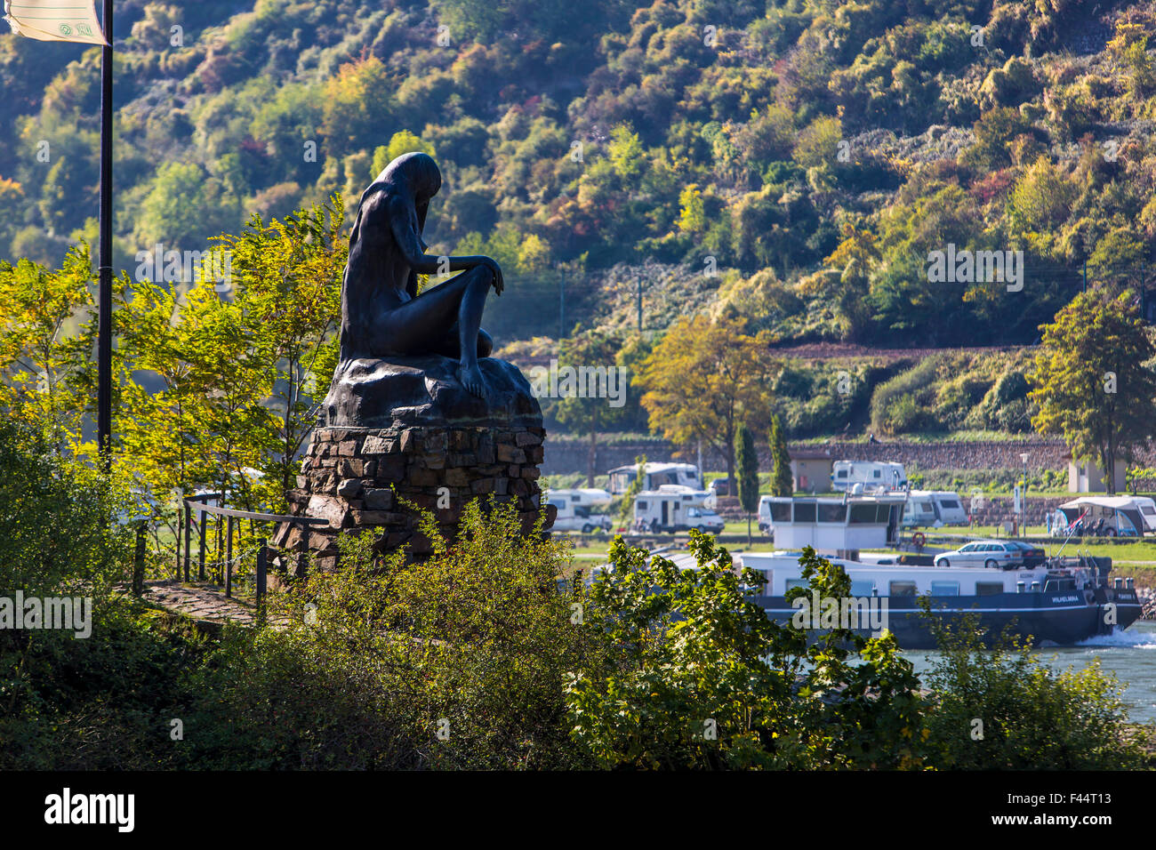 Loreley Mermaid statue in the harbor mole,  Rhine harbor at St. Goar,  Upper Middle Rhine Valley Stock Photo