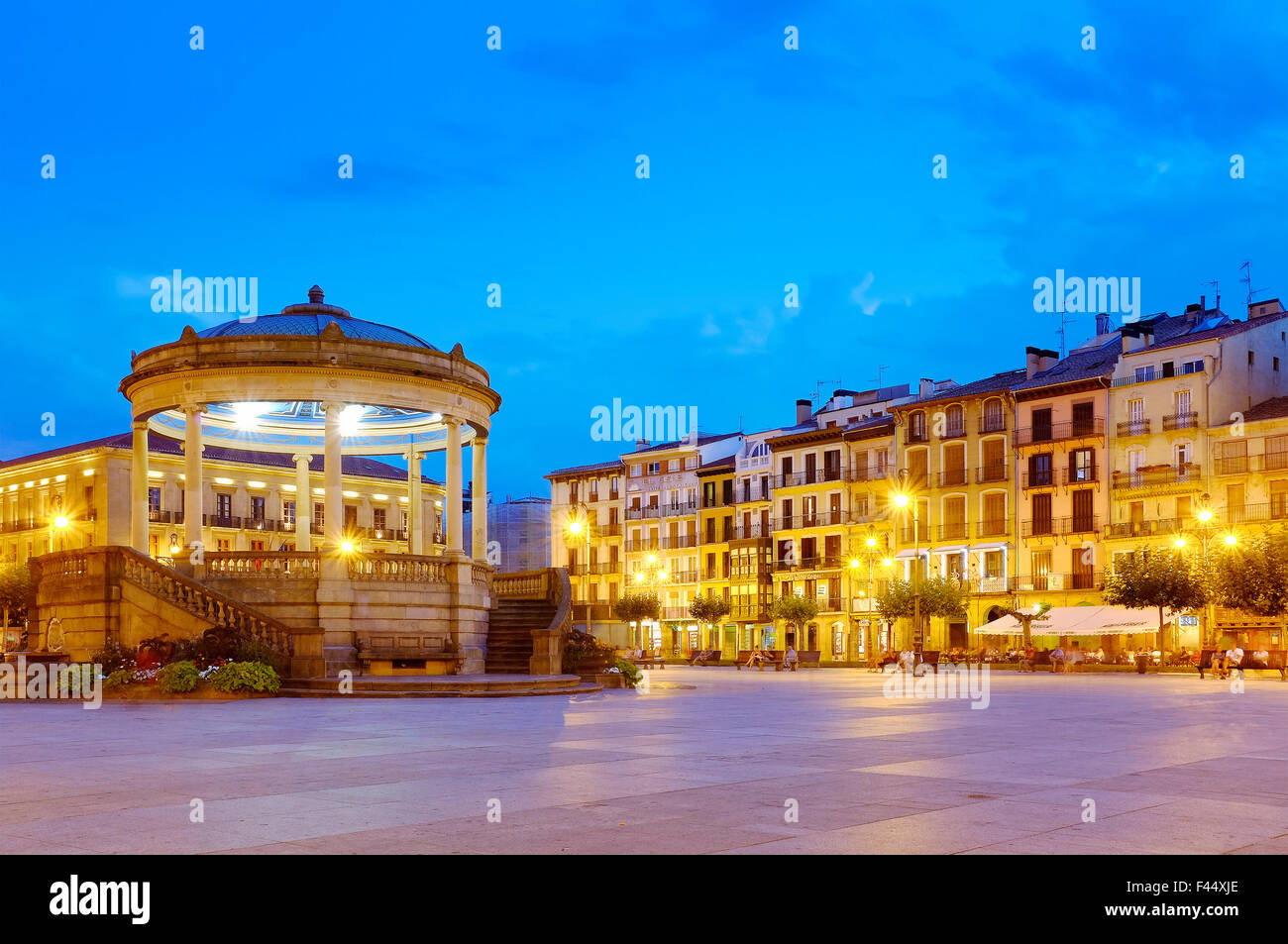 Bandstand in Plaza del Castillo, Pamplona, Navarre, Spain - Stock Image