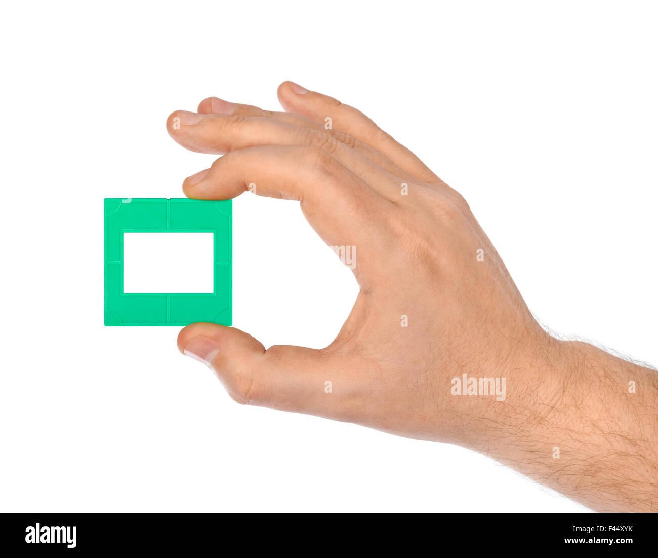 Photo frame for slide in hand Stock Photo