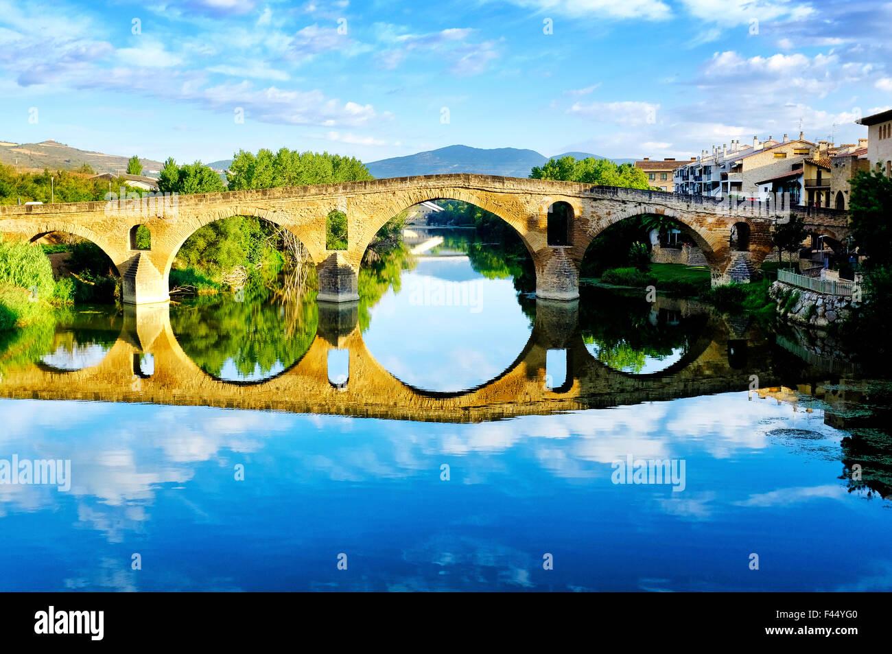 Medieval bridge in Puente La Reina, Navarre, Spain. Stock Photo